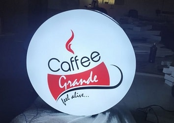 Backlit LED sign board designed for coffee shop