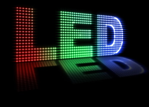 Illustration of colourful LEDs on LED sign board