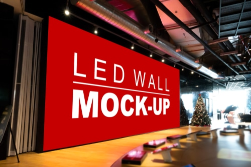 Large mockup LED display wall displayed on stage in a mall